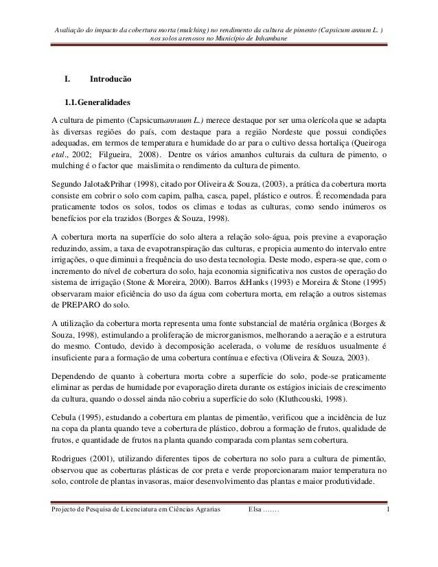 Avaliação do impacto da cobertura morta (mulching) no rendimento da cultura de pimento (Capsicum annum L. ) nos solos aren...