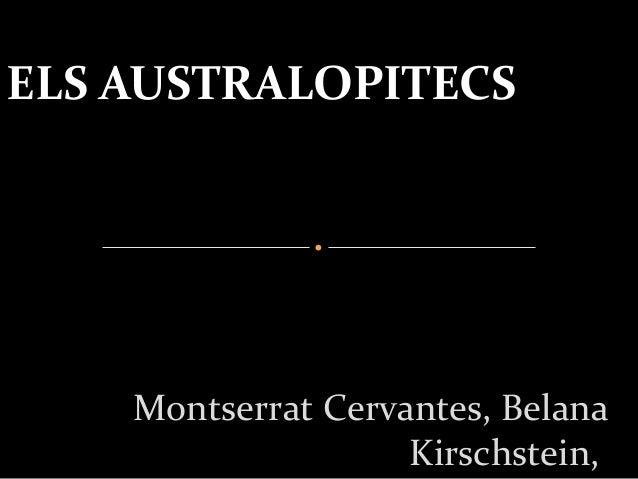 Montserrat Cervantes, Belana Kirschstein, ELS AUSTRALOPITECS