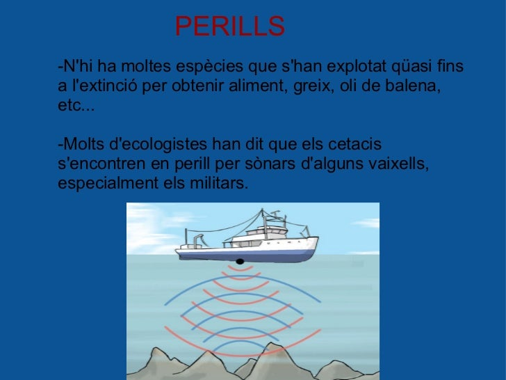 PERILLS -N'hi ha moltes espècies que s'han explotat qüasi fins a l'extinció per obtenir aliment, greix, oli de balena, etc...