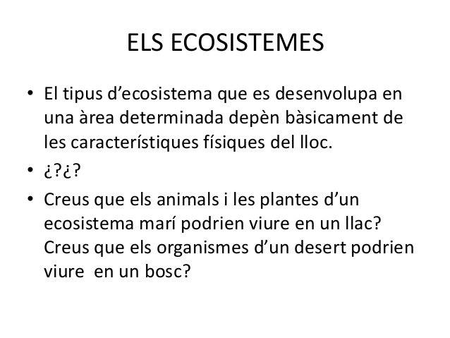 TIPUS D'ECOSISTEMES• Segons el medi en  que es troben, els  ecosistemes es  poden dividir en  ecosistemes  aquàtics i terr...