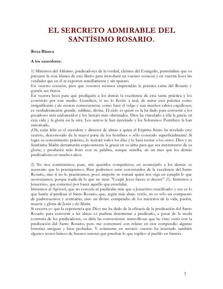EL SERCRETO ADMIRABLE DEL               SANTÍSIMO ROSARIO.Rosa BlancaA los sacerdotes.1) Ministros del Altísimo, predicado...