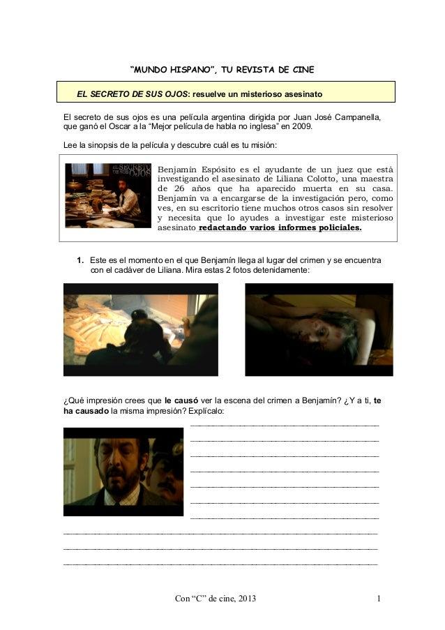 """""""MUNDO HISPANO"""", TU REVISTA DE CINE EL SECRETO DE SUS OJOS: resuelve un misterioso asesinato El secreto de sus ojos es una..."""