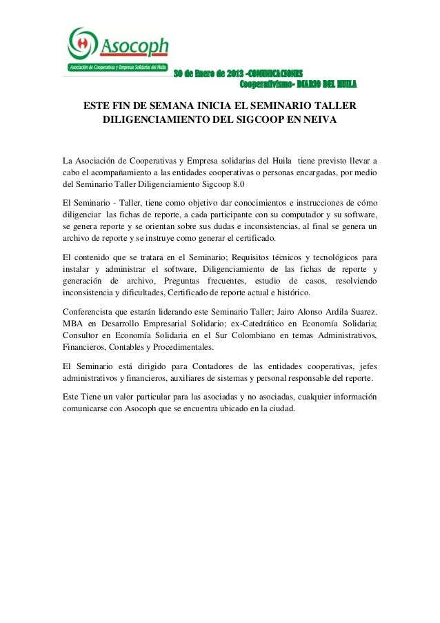 30 de Enero de 2013 -COMUNICACIONES                                                 Cooperativismo- DIARIO DEL HUILA     E...