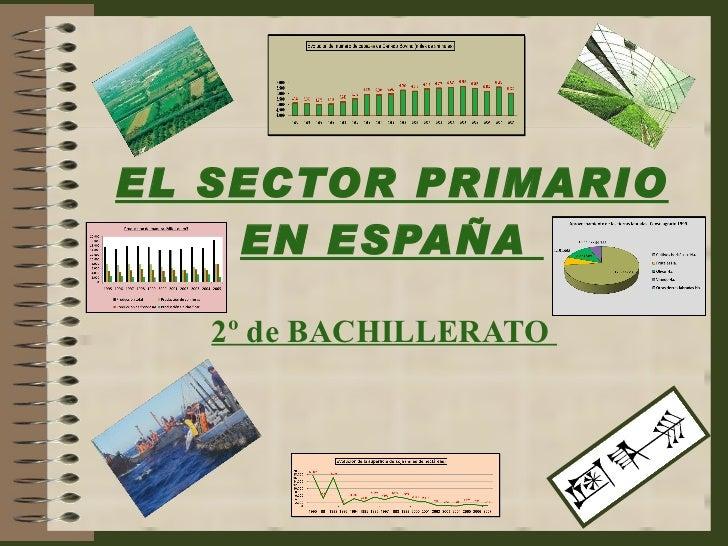 EL SECTOR PRIMARIO EN ESPAÑA  2º de BACHILLERATO
