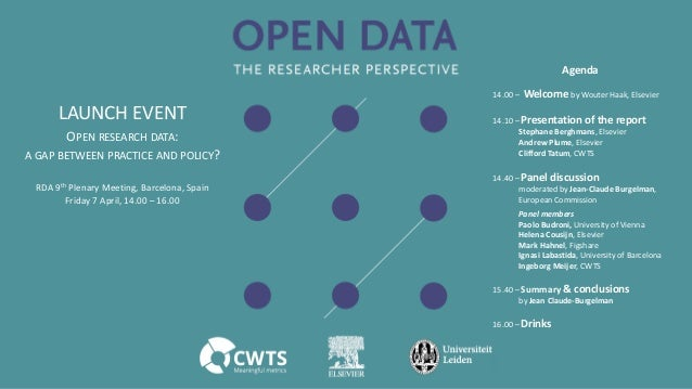 RDA 9th Plenary Meeting, Barcelona, Spain Friday 7 April, 14.00 – 16.00 OPEN RESEARCH DATA: A GAP BETWEEN PRACTICE AND POL...