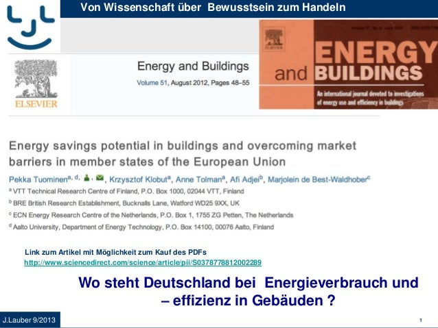 J.Lauber 9/2013 1 Von Wissenschaft über Bewusstsein zum Handeln Wo steht Deutschland bei Energieverbrauch und – effizienz ...