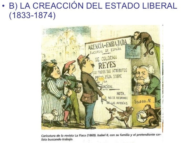 <ul><li>B) LA CREACCIÓN DEL ESTADO LIBERAL (1833-1874) </li></ul>