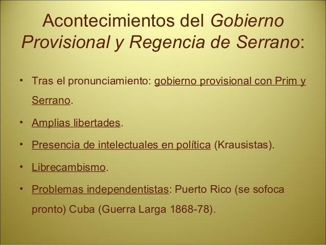 Acontecimientos Sexenio: • Ocupación de tierras en Andalucía. • Revueltas obreras. • Separatismo catalán. • Temor de la ar...