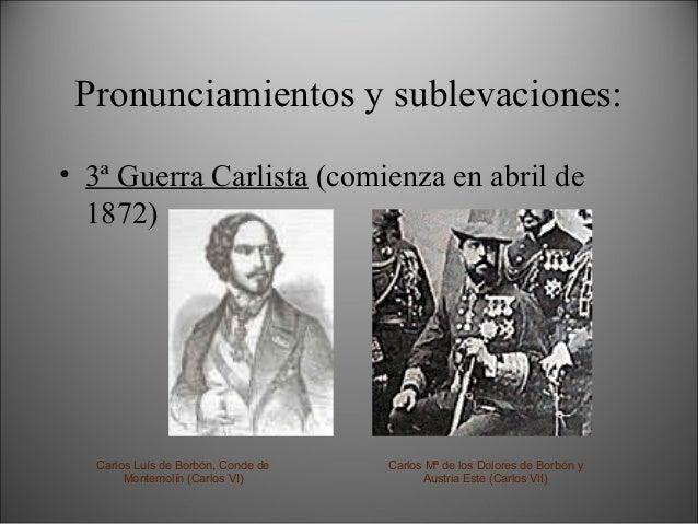Constitución de 1869 • Democrática (y monárquica). • Sufragio universal masculino. • Garantías para los detenidos. • Liber...