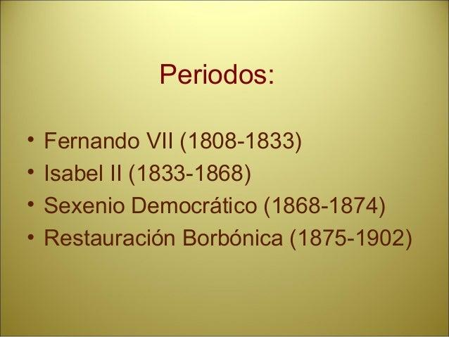 Periodos: • Fernando VII (1808-1833) • Isabel II (1833-1868) • Sexenio Democrático (1868-1874) • Restauración Borbónica (1...