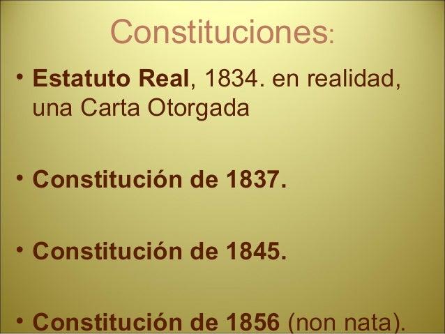 """Narváez DÉCADA MODERADA CONSTITUCIÓN DE 1845 CONCORDATO CON LA SANTA SEDE REFORMA DE LA HACIENDA """"Impopularidad de los con..."""