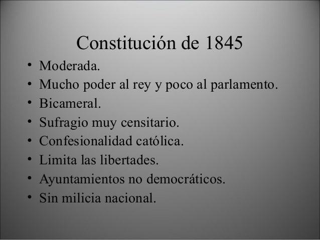 Constitución de 1856 (non nata) • Progresista. • Soberanía nacional. • Poco poder para el rey. • Parlamento electivo. • Am...
