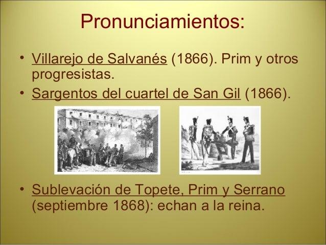 SEXENIO DEMOCRÁTICO 1868-1874 REVOLUCIÓN DE 1868 PRIM. SERRANO. TOPETE JUNTAS REVOLUCIONARIAS Y BATALLA DE ALCOLEA. EXILIO...