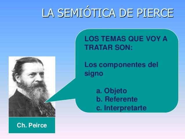 LA SEMIÓTICA DE PIERCECh. PeirceLOS TEMAS QUE VOY ATRATAR SON:Los componentes delsignoa. Objetob. Referentec. Interpretarte