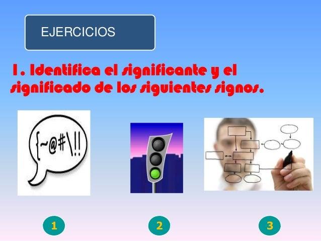 EJERCICIOS1. Identifica el significante y elsignificado de los siguientes signos.1 2 3