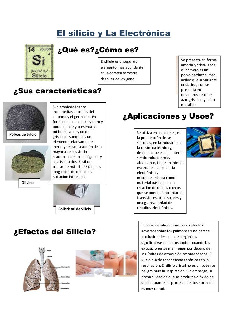 El silicio y La Electrónica                       ¿Qué es?¿Cómo es?                                                  El si...