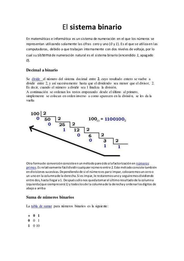 El sistema binario En matemáticas e informática es un sistema de numeración en el que los números se representan utilizand...