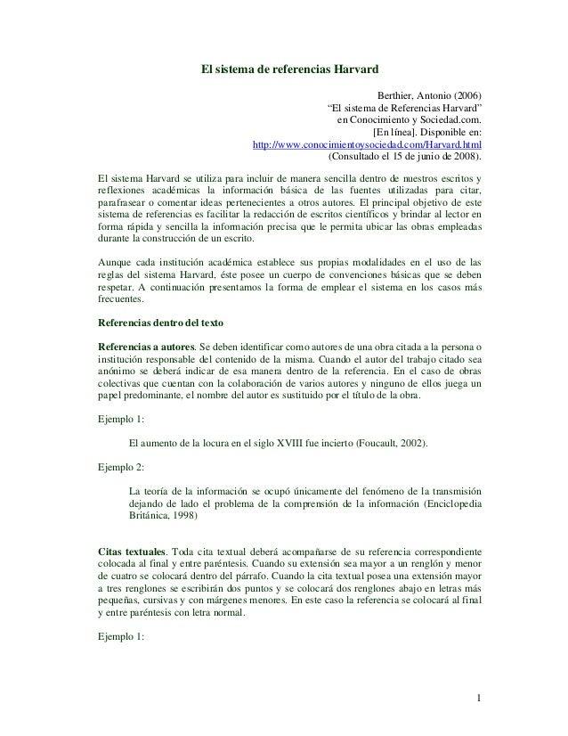 El sistema de referencias Harvard                                                                  Berthier, Antonio (2006...