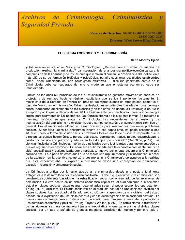 EL SISTEMA ECONÓMICO Y LA CRIMINOLOGÍA                                                                                Carl...