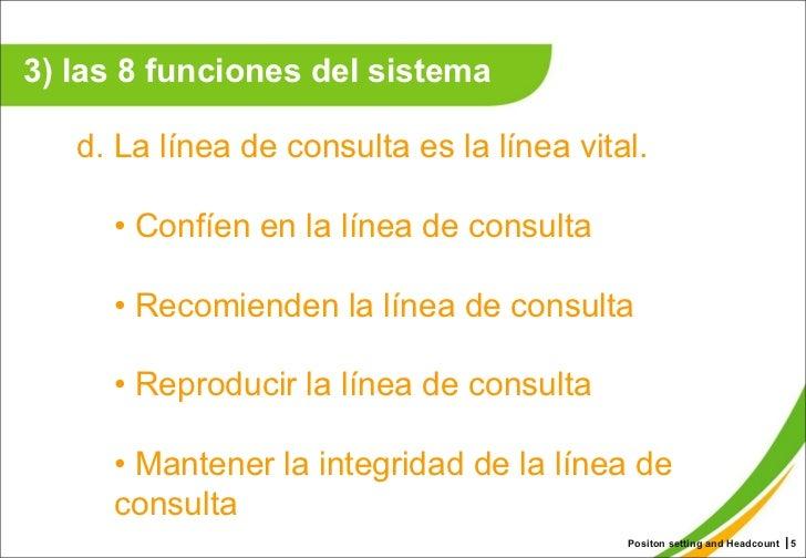 Positon setting and Headcount ┃ <ul><li>d. La línea de consulta es la línea vital.  </li></ul><ul><ul><li>•  Confíen en la...