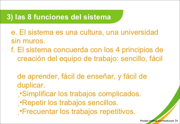 Positon setting and Headcount ┃ <ul><li>e. El sistema es una cultura, una universidad sin muros.  </li></ul><ul><li>f. El ...