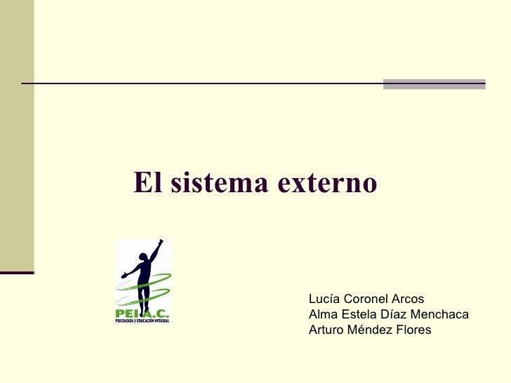 El sistema externo Lucía Coronel Arcos Alma Estela Díaz Menchaca Arturo Méndez Flores