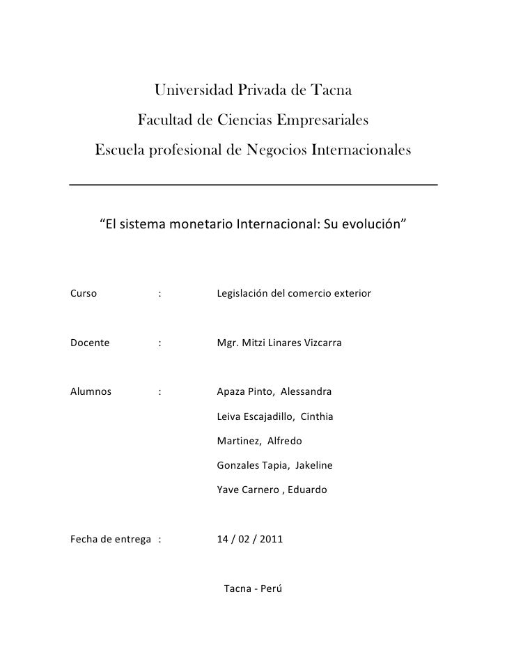 Universidad Privada de Tacna              Facultad de Ciencias Empresariales    Escuela profesional de Negocios Internacio...