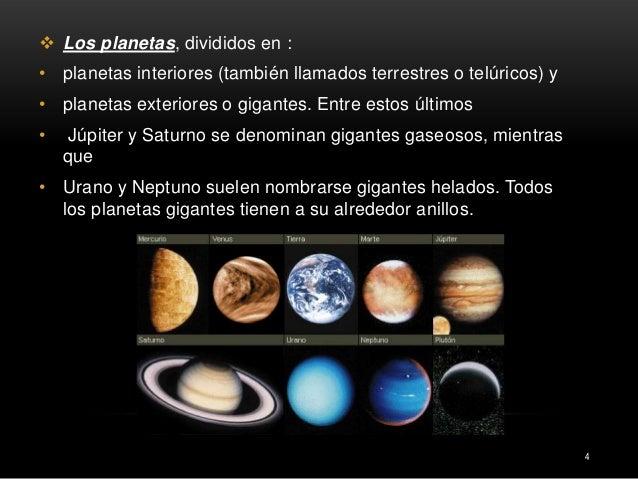 El sistema solar - Caracteristicas de los planetas interiores ...