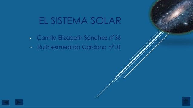 EL SISTEMA SOLAR • Camila Elizabeth Sánchez n°36 • Ruth esmeralda Cardona n°10