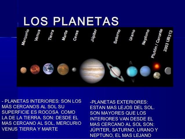 El sistema solar iker de castro - Caracteristicas de los planetas interiores ...