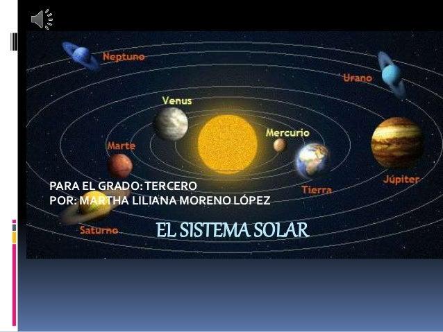 EL SISTEMA SOLAR PARA EL GRADO:TERCERO POR: MARTHA LILIANA MORENO LÓPEZ