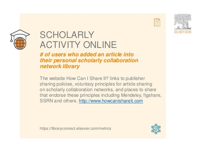 11 # of users who added an article into their personal scholarly collaboration network library SCHOLARLY ACTIVITY ONLINE T...