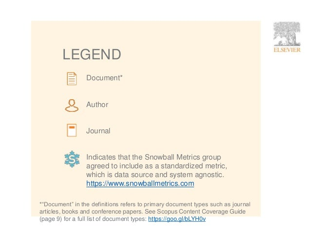 2 LEGEND Document* Author Journal Indicates that the Snowball Metrics group agreed to include as a standardized metric, wh...