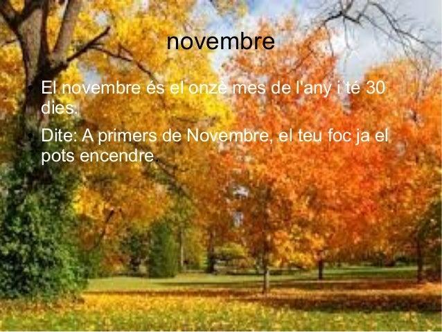 novembre ● El novembre és el onzè mes de l'any i té 30 dies. ● Dite: A primers de Novembre, el teu foc ja el pots encendre.
