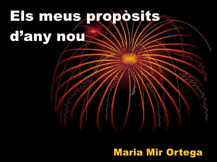 Els meus propòsits d'any nou Maria Mir Ortega