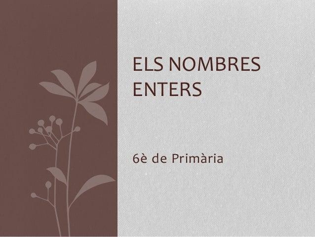 ELS NOMBRES  ENTERS  6è de Primària