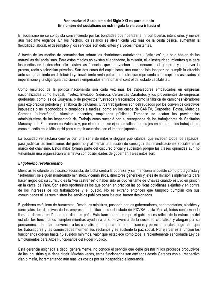 Venezuela: el Socialismo del Siglo XXI es puro cuento                           En nombre del socialismo se estrangula la ...