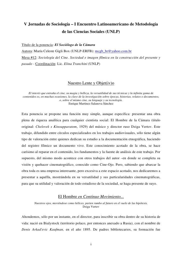 V Jornadas de Sociología – I Encuentro Latinoamericano de Metodología                                de las Ciencias Socia...