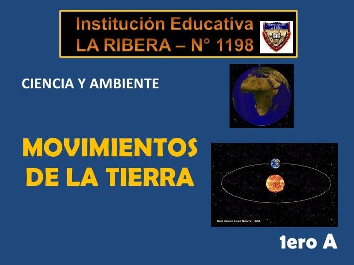 MOVIMIENTOS DE LA TIERRA 1ero A CIENCIA Y AMBIENTE