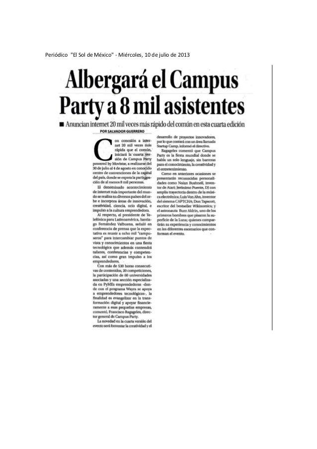 """Periódico """"El Sol de México"""" - Miércoles, 10 de julio de 2013"""