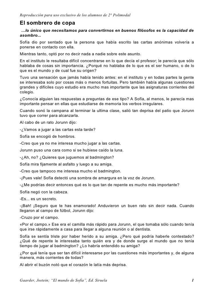Reproducción para uso exclusivo de los alumnos de 2° Polimodal El sombrero de copa  …lo único que necesitamos para convert...