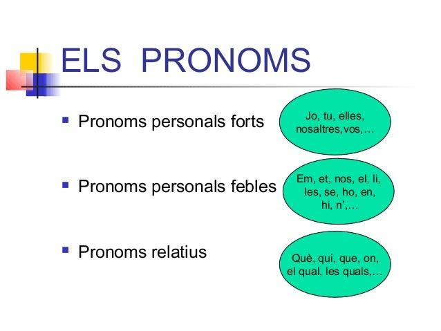 ELS PRONOMS  Pronoms personals forts  Pronoms personals febles  Pronoms relatius Jo, tu, elles, nosaltres,vos,… Em, et,...