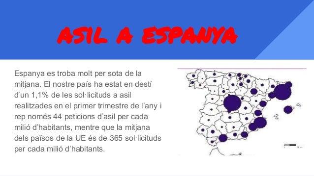 asil a espanya Espanya es troba molt per sota de la mitjana. El nostre país ha estat en destí d'un 1,1% de les sol·licitud...