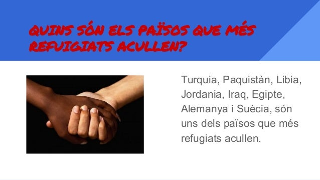 QUINS SÓN ELS PAÏSOS QUE MÉS REFUIGIATS ACULLEN? Turquia, Paquistàn, Libia, Jordania, Iraq, Egipte, Alemanya i Suècia, són...