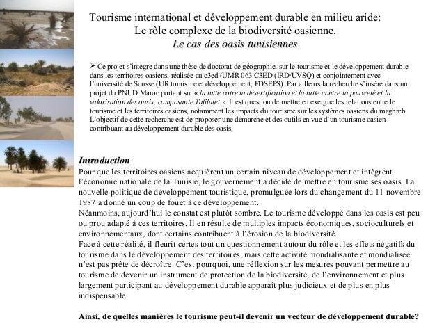 Tourisme international et développement durable en milieu aride: Le rôle complexe de la biodiversité oasienne. Le cas des ...