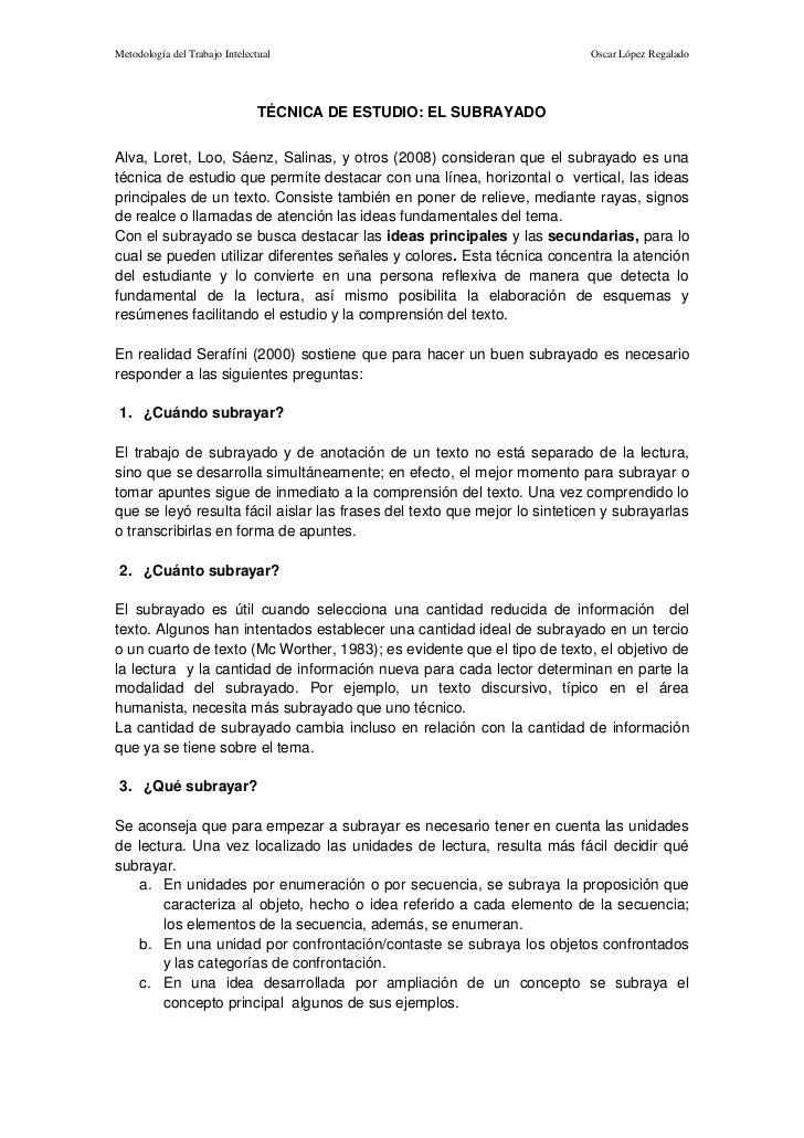 Metodología del Trabajo Intelectual                                        Oscar López Regalado                           ...