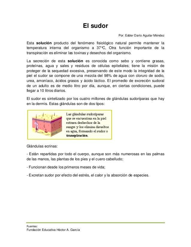 El sudor                                                        Por: Edder Darío Aguilar MéndezEsta solución producto del ...