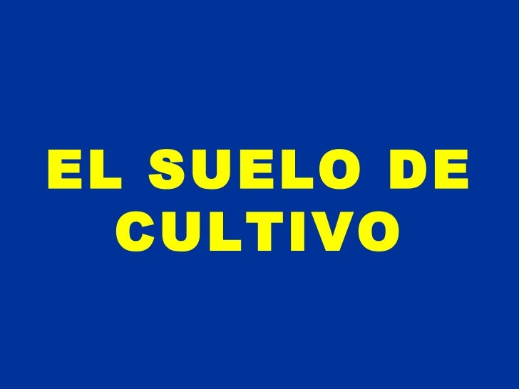 EL SUELO DE CULTIVO