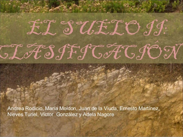 EL SUELO II:CLASIFICACIÓN Andrea Rodicio, María Moldon, Juan de la Viuda, Ernesto Martínez, Nieves Turiel, Víctor González...