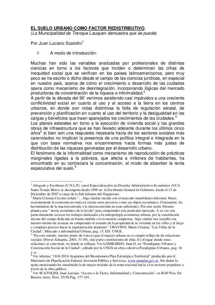EL SUELO URBANO COMO FACTOR REDISTRIBUTIVO.(La Municipalidad de Trenque Lauquen demuestra que se puede)Por Juan Luciano Sc...